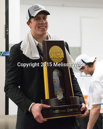 Alex Cromwell (PC - 28) - The Providence College Friars celebrated their national championship win after the Frozen Four final at TD Garden on Saturday, April 11, 2015, in Boston, Massachusetts.