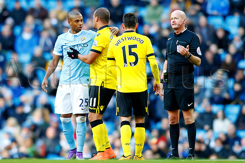 05.03.2016. The Etihad, Manchester, England. Barclays Premier League. Manchester City versus Aston Villa. Gabriel Agbonlahor of Aston Villa and Fernandinho of Manchester City exchange words after Gabriel Agbonlahor of Aston Villa is fouled