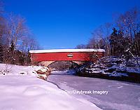 63904-02404 Narrows Covered Bridge in winter,  Turkey Run SP Parke Co. IN