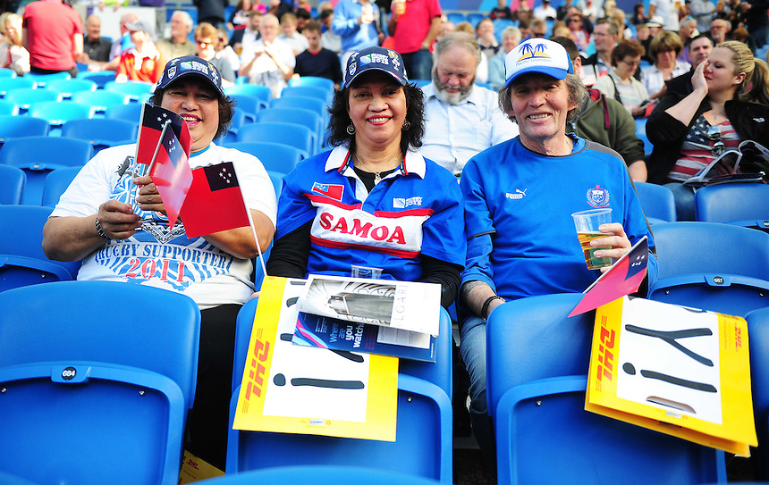 Samoa fans before todays match<br /> <br /> Photographer Kevin Barnes/CameraSport<br /> <br /> Rugby Union - 2015 Rugby World Cup - Samoa v USA - Sunday 20th September 2015 - Brighton Community Stadium - Falmer - Brighton<br /> <br /> &copy; CameraSport - 43 Linden Ave. Countesthorpe. Leicester. England. LE8 5PG - Tel: +44 (0) 116 277 4147 - admin@camerasport.com - www.camerasport.com