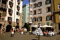 Mime in street scene in Old Town in Innsbruck Austria