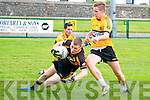 Listowel Emmetts V Austin Stacks : Austin Stacks player Darragh o'Brien wins the ball depite the close attention of Listowel Emmetts John Heaphy & Cormac Mulvihill during their Division 1 clash in Listowel on Sunday last.
