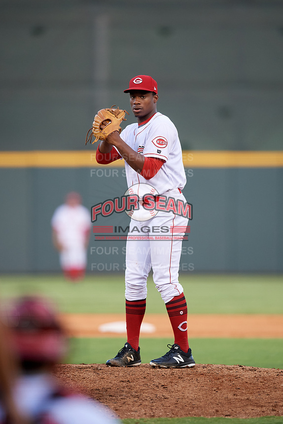 Greeneville Reds starting pitcher Josiah Gray (7) gets ready to deliver a pitch during a game against the Pulaski Yankees on July 27, 2018 at Pioneer Park in Greeneville, Tennessee.  Greeneville defeated Pulaski 3-2.  (Mike Janes/Four Seam Images)