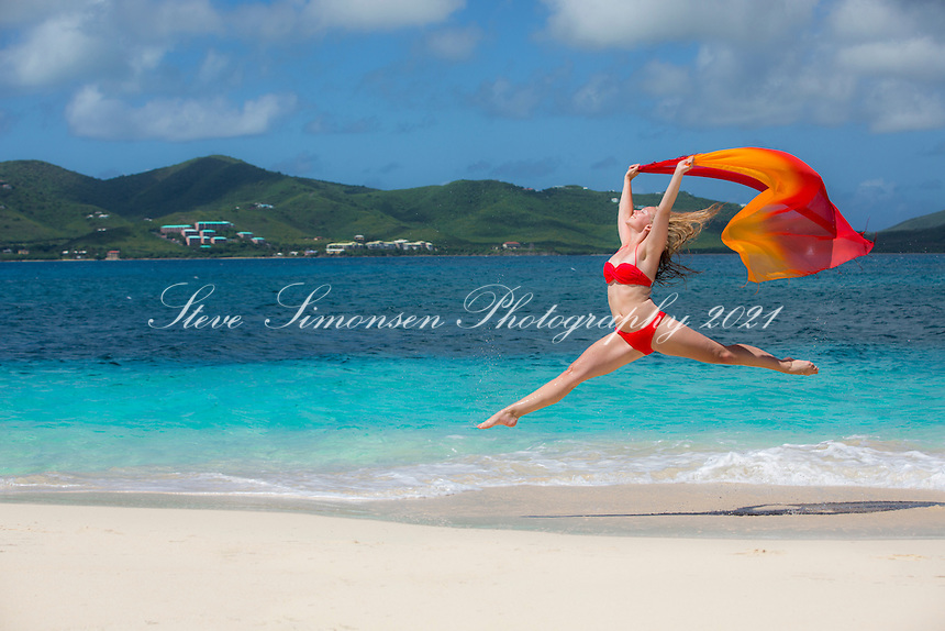 Model Alex Krasny on the beach at Buck Island<br />