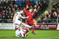 Federico Fernandez of Swansea City clears from Roberto Firmino of Liverpool during the Premier League match between Swansea City and Liverpool at the Liberty Stadium, Swansea, Wales on 22 January 2018. Photo by Mark Hawkins / PRiME Media Images.