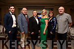 Judges Paul Geaney and Tim Landers, Tim Moynihan (MC), judges Toireasa Ferris and Caroline McEnery with Causeway GAA Chairman Noel O'Connor at the Causeway Strictly Come dancing in the Ballyroe Heights Hotel on Friday night.