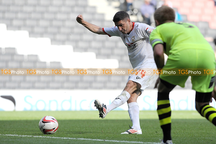 Ryan Lowe of MK Dons attempts a shot on goal - MK Dons vs Yeovil Town - NPower League One Football at Stadium MK, Milton Keynes - 15/09/12 - MANDATORY CREDIT: Anne-Marie Sanderson/TGSPHOTO - Self billing applies where appropriate - 0845 094 6026 - contact@tgsphoto.co.uk - NO UNPAID USE.