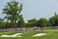 A wide view of Hideki Matsuyama (JPN) sinking his putt on 8 during 4th round of the 100th PGA Championship at Bellerive Country Club, St. Louis, Missouri. 8/12/2018.<br /> Picture: Golffile   Ken Murray<br /> <br /> All photo usage must carry mandatory copyright credit (© Golffile   Ken Murray)