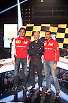 Ferrari F1 drivers Pedro de la Rosa (L) and Marc Gene (R) and TV presenter Antonio Lobato during the F1 World Championship 2014-15 season in A3 TV channel in A3media building in Madrid, Spain. March 6, 2014. (ALTERPHOTOS/Victor Blanco)
