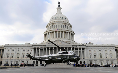 Washington, DC - January 20, 2009 -- A Marine helicopter with former United States President George W. Bush on board departs from the East Front of the US Capitol Building after Barack Obama was sworn in as the 44th President of the United States in Washington, DC, USA 20 January 2009.  Obama defeated Republican candidate John McCain on Election Day 04 November 2008 to become the next U.S. President..Credit: Tannen Maury - Pool via CNP