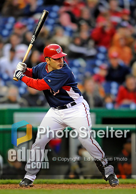 29 March 2008: Washington Nationals' catcher Paul Lo Duca in action during an exhibition game against the Baltimore Orioles at Nationals Park, in Washington, DC. The matchup was the first professional baseball game played in the new Nationals Park, prior to the upcoming official opening day inaugural game. The Nationals defeated the Orioles 3-0...Mandatory Photo Credit: Ed Wolfstein Photo