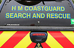 Close up of Search and Rescue sign on HM Coastguard, emergency services vehicle, UK