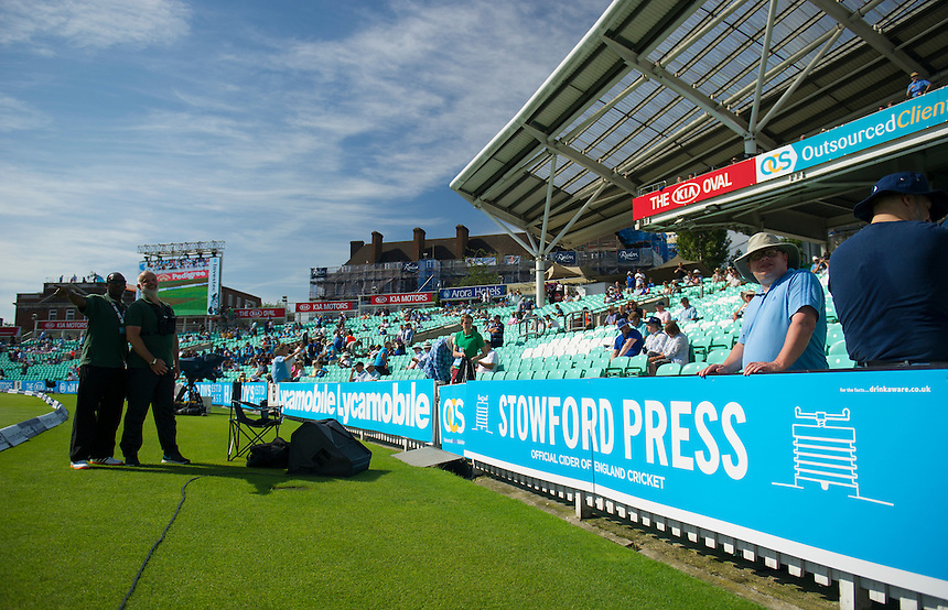 Blue advertising on Cricket United charity day<br /> <br /> Photographer Ashley Western/CameraSport<br /> <br /> International Cricket - Investec Ashes Test Series 2015 - Fifth Test - England v Australia - Day 3 - Saturday 22nd August 2015 - Kennington Oval - London<br /> <br /> &copy; CameraSport - 43 Linden Ave. Countesthorpe. Leicester. England. LE8 5PG - Tel: +44 (0) 116 277 4147 - admin@camerasport.com - www.camerasport.com