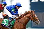 November 2, 2018: Line Of Duty #5, ridden by William Buick, wins the Juvenile Turf on Breeders' Cup World Championship Friday at Churchill Downs on November 2, 2018 in Louisville, Kentucky. Eric Patterson/Eclipse Sportswire/CSM