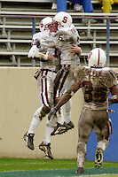 Randy Fasani celebrates with Luke Powell after scoring on a 35 yard run during Stanford's 41-14 win over San Jose State on December 1, 2001 at Spartan Stadium in San Jose, CA.<br />Photo credit mandatory: Gonzalesphoto.com