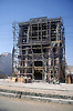 Ricketylooking wooden scaffolding on building being renovated in India,