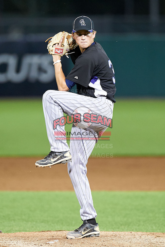Nicholas Eichholtz #30 of Cambridge Christian High School in Odessa, Florida playing for the Colorado Rockies scout team during the East Coast Pro Showcase at Alliance Bank Stadium on August 2, 2012 in Syracuse, New York.  (Mike Janes/Four Seam Images)