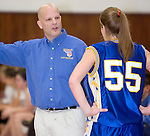 NAUGATUCK, CT- 02 JAN 06- 010207JT13- <br /> Seymour coach Eric DeMarco talks to player Jess Biercevicz during Tuesday's game against Naugatuck at Naugatuck. Seymour won 41-44.<br /> Josalee Thrift Republican-American