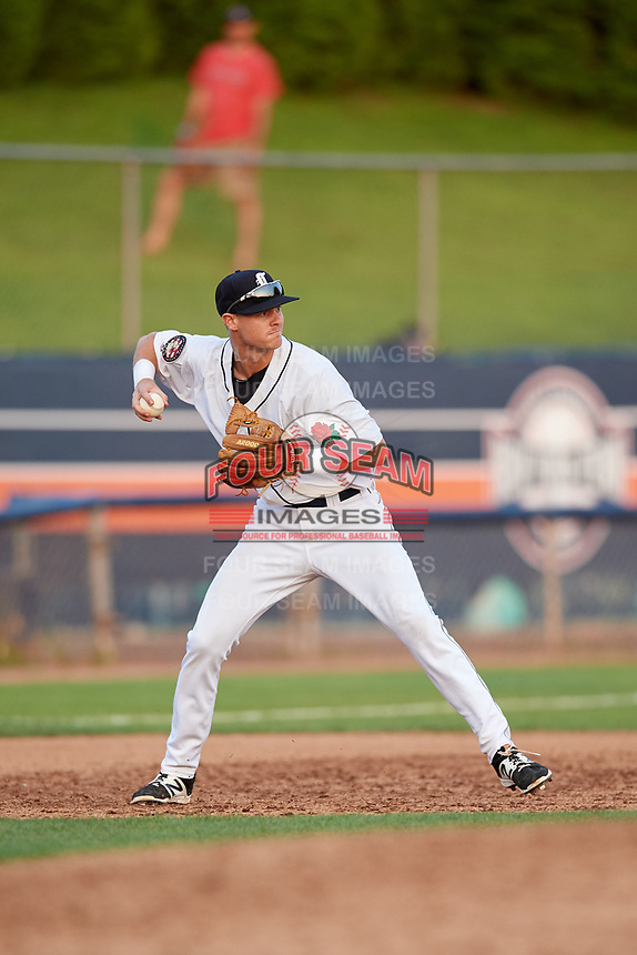 Connecticut Tigers third baseman Cam Warner (44) throws to second base during a game against the Lowell Spinners on August 26, 2018 at Dodd Stadium in Norwich, Connecticut.  Connecticut defeated Lowell 11-3.  (Mike Janes/Four Seam Images)