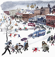 Snowy city street scene and people tobogganing ExclusiveImage