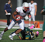SPEARFISH, SD - OCTOBER 26, 2013:  Paul Browning #81 of Colorado State - Pueblo slips past a Black Hills State tackler during their Rocky Mountain Athletic Conference game Saturday at Lyle Hare Stadium in Spearfish, S.D. CSU-Pueblo won 51-17. (Photo by Dick Carlson/Inertia)