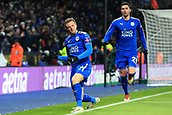 18th March 2018, King Power Stadium, Leicester, England; FA Cup football, quarter final, Leicester City versus Chelsea; Jamie Vardy of Leicester City punches the air as he celebrates after scoring as he makes it 1-1 in the 76th mnute from close range