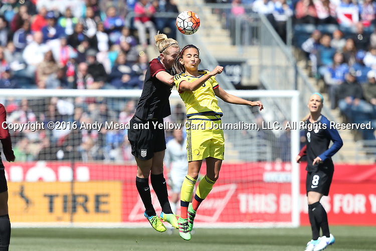 10 April 2016: Samantha Mewis (USA) (left) and Isabella Echeverri (COL) (right) challenge for a header. The United States Women's National Team played the Colombia Women's National Team at Talen Energy Stadium in Chester, Pennsylvania in an women's international friendly soccer game. The U.S. won the match 3-0.