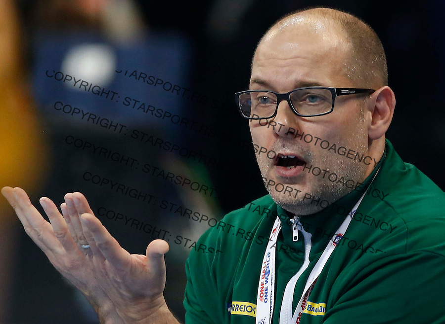 BELGRADE, SERBIA - DECEMBER 20: Head coach Morten Soubak of Brazil reacts on during the World Women's Handball Championship 2013 Semi Final match between Brazil and Denmark at Kombank Arena Hall on December 20, 2013 in Belgrade, Serbia. (Photo by Srdjan Stevanovic/Getty Images)