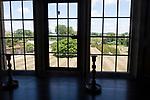 View of garden through windows Littlecote House Hotel, Hungerford, Berkshire, England, UK