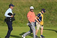 """Jon Rahm (ESP) chats with Jim """"Bones"""" Mackay as he walks to the 12th green during Thursday's Round 1 of the 148th Open Championship, Royal Portrush Golf Club, Portrush, County Antrim, Northern Ireland. 18/07/2019.<br /> Picture Eoin Clarke / Golffile.ie<br /> <br /> All photo usage must carry mandatory copyright credit (© Golffile 