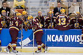 Derek Peltier (Minnesota - 5), Tony Lucia (Minnesota - 12), Mike Carman (Minnesota - 16), Ryan Flynn (Minnesota - 22), Jay Barriball (Minnesota - 26), Justin Bostrom (Minnesota - 14), Blake Wheeler (Minnesota - 17), Don Lucia (Minnesota - Head Coach), Ben Gordon (Minnesota - 13) - The Boston College Eagles defeated the University of Minnesota Golden Gophers 5-2 on Saturday, March 29, 2008, in the NCAA Northeast Regional Semi-Final at the DCU Center in Worcester, Massachusetts.