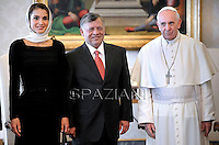 Pope Francis receives Jordan's king: Abdullah II ,Abd Allah ibn Husayn,   Rania of Jordan during a private audience at the Vatican on August 29, 2013.