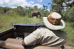 Game guide on safari, Mkhaya game reserve, Swaziland, Africa