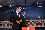 Real Madrid's new soccer player Mateo Kovacic talks at press conference during his official presentation at the Santiago Bernabeu stadium in Madrid, Spain. August 19, 2015. (ALTERPHOTOS/Victor Blanco)