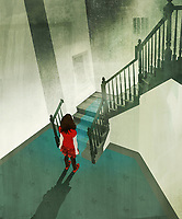 Anxious little girl standing at the bottom of staircase with prison bar window
