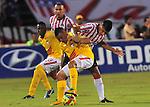 En juego correspondiente a la segunda fecha del grupo A de los cuadrangulares semifinales del Torneo Clausura Colombiano 2013, Atlético Junior venció 3 – 2 a Santa Fe en el estadio metropolitano Roberto Meléndez de Barranquilla. /