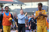 Brentford Manager, Dean Smith, applauds the home fans at the end of the match during Brentford vs Wigan Athletic, Sky Bet EFL Championship Football at Griffin Park on 15th September 2018