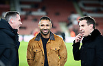 Jamie Carragher, Kell Brook and Gary Neville during the Premier League match at Bramall Lane, Sheffield. Picture date: 10th January 2020. Picture credit should read: Simon Bellis/Sportimage