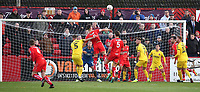 Alfreton Town's David Shiels has an attempt at goal<br /> <br /> Photographer Rachel Holborn/CameraSport<br /> <br /> Emirates FA Cup First Round - Alfreton Town v Fleetwood Town - Sunday 11th November 2018 - North Street - Alfreton<br />  <br /> World Copyright &copy; 2018 CameraSport. All rights reserved. 43 Linden Ave. Countesthorpe. Leicester. England. LE8 5PG - Tel: +44 (0) 116 277 4147 - admin@camerasport.com - www.camerasport.com