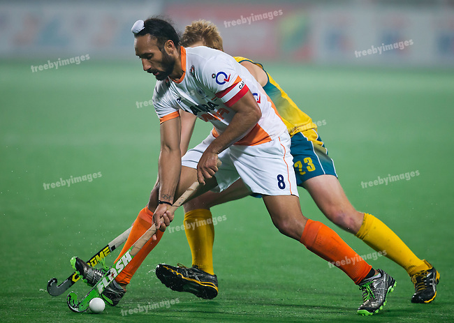 Mens Hockey World league Final Delhi 2014<br /> Day 4, 15-01-2014<br /> Australia v India<br /> Sardar Singh<br /> Photo: Grant Treeby / treebyimages