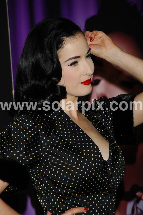 **ALL ROUND PICTURES FROM SOLARPIX.COM**.**SYNDICATION RIGHTS FOR UK, ASIA, AUSTRALIA, CANADA, DUBAI, GREECE, NEW ZEALAND, RUSSIA, SOUTH AFRICA, SOUTH AMERICA, AND USA**.The American 'pin-up' Dita Von Teese presents in Madrid the line of lingerie that she has designed for Wonderbra. All that lingerie is directed to the women who understand that ' the sexy, nice and favouring underwear is a very important part of our wardrobe'. ...This pic: Dita Von Teese...JOB REF: 10065      SPA     DATE:05.10.09.**MUST CREDIT SOLARPIX.COM OR DOUBLE FEE WILL BE CHARGED**.**MUST NOTIFY SOLARPIX OF ONLINE USAGE**.**CALL US ON: +34 952 811 768 or LOW RATE FROM UK 0844 617 7637**