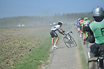 Crash for Reinardt Janse Van Rensburg (RSA) Team Dimension Data on pave sector 17 Hornaing to Wandignies during the 115th edition of the Paris-Roubaix 2017 race running 257km Compiegne to Roubaix, France. 9th April 2017.<br /> Picture: ASO/P.Ballet | Cyclefile<br /> <br /> <br /> All photos usage must carry mandatory copyright credit (&copy; Cyclefile | ASO/P.Ballet)