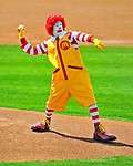 15 March 2009: Mascot for McDonalds, Ronald McDonald throws out the ceremonial first pitch during a Spring Training game between the Detroit Tigers and the Washington Nationals at Space Coast Stadium in Viera, Florida. The Tigers shut out the Nationals 3-0 in the Grapefruit League matchup. Mandatory Photo Credit: Ed Wolfstein Photo