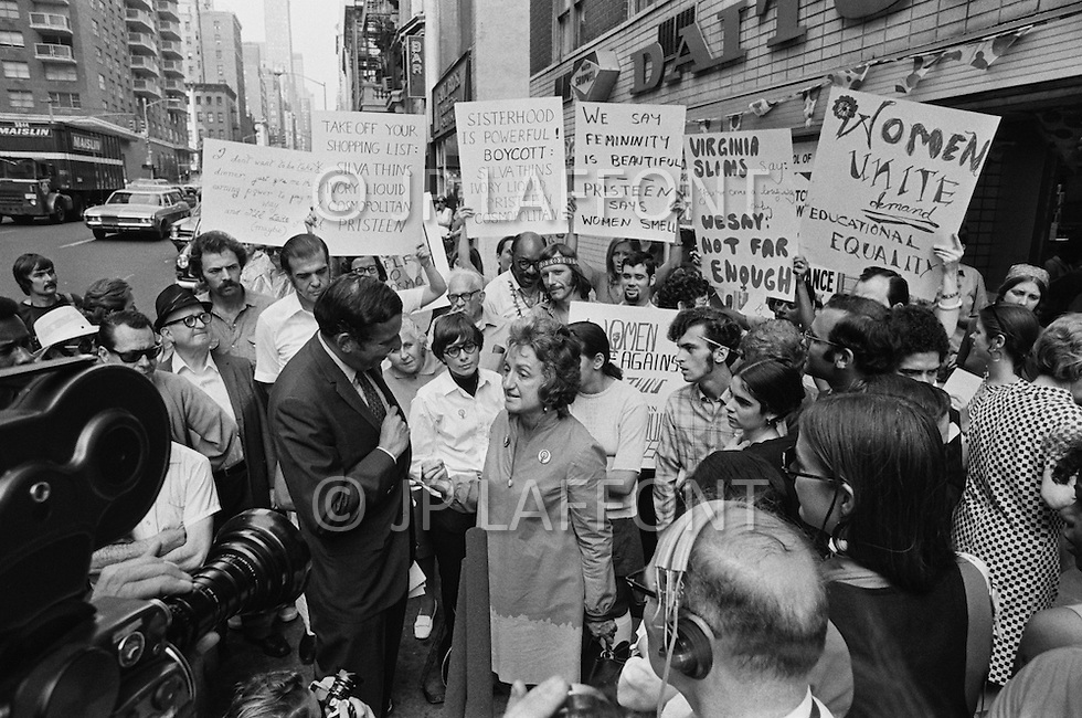 26 Aug, 1970. National Organization for Women President Betty Friedan in an interview with the press during a march in New York City on August 26, 1970 on the 50th anniversary of the passing of the Nineteenth Amendment which granted American women full suffrage. The National Organization for Women (NOW) called upon women nationwide to strike for equality on that day. Image by © JP Laffont