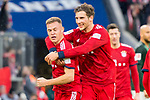 09.03.2019, Allianz Arena, Muenchen, GER, 1.FBL,  FC Bayern Muenchen vs. VfL Wolfsburg, DFL regulations prohibit any use of photographs as image sequences and/or quasi-video, im Bild Tor zum 5-0 durch Joshua Kimmich (FCB #32) mit Leon Goretzka (FCB #18) <br /> <br />  Foto &copy; nordphoto / Straubmeier