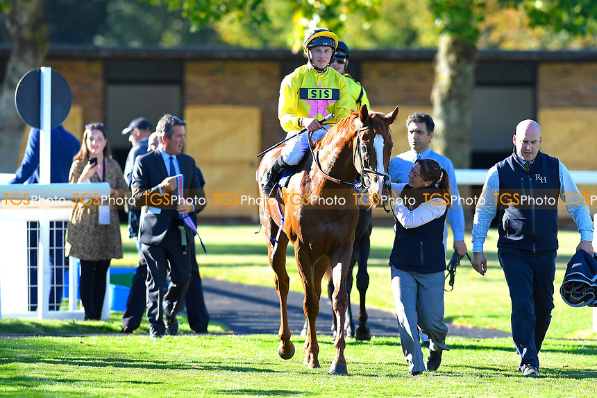 Winner of The Myddelton & Major Conditions Stakes   Naughty Rascal ridden by Tom Marquand and trained by Richard Hannon is led into the Winners enclosure during Afternoon Racing at Salisbury Racecourse on 3rd October 2018