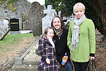 Sadhbh Tully Byrne, Keith Byrne and Marissa Toner as Brendan Matthews gives a history talk in Stamullen Graveyard...(Photo credit should read Jenny Matthews/NEWSFILE)...