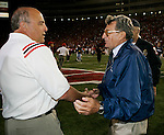 MADISON, WI - SEPTEMBER 25: Head coach Barry Alvarez of the Wisconsin Badgers and head coach Joe Paterno of the Penn State Nittany Lions meet at midfiled after the game at Camp Randall Stadium in Madison, Wisconsin on September 25, 2004. The Badgers beat the Nittany Lions 16-3. (Photo by David Stluka)