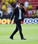 An unhappy Watford Manager Marco Silva at the end of the premier league match at the Vicarage Road Stadium, Watford. Picture date 26th August 2017. Picture credit should read: Robin Parker/Sportimage