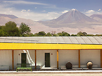 Explora Atacama Lodge with view of the Volcán Láscar mountain. San Pedro de Atacama, Atacama Desert, Chile